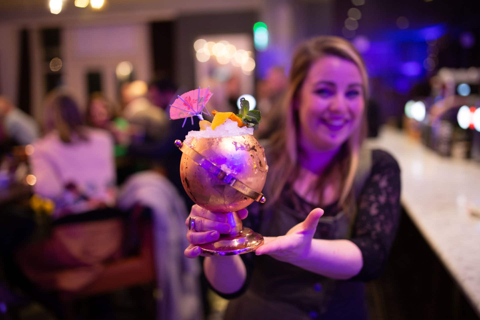 A Happy Customer enjoying a cocktail