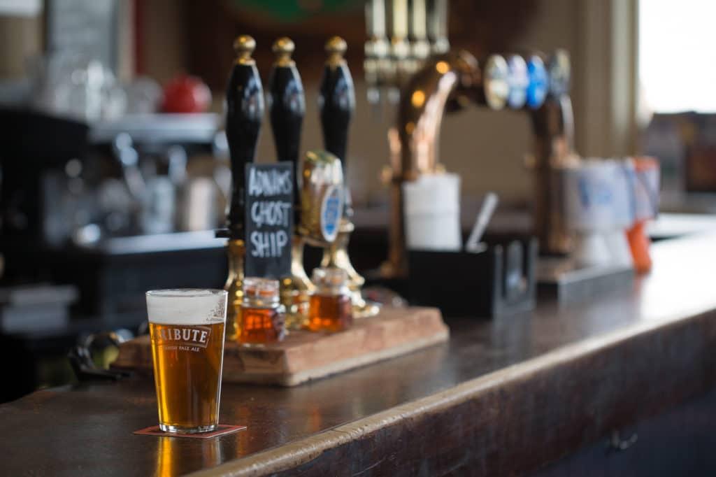 A pint on a bar