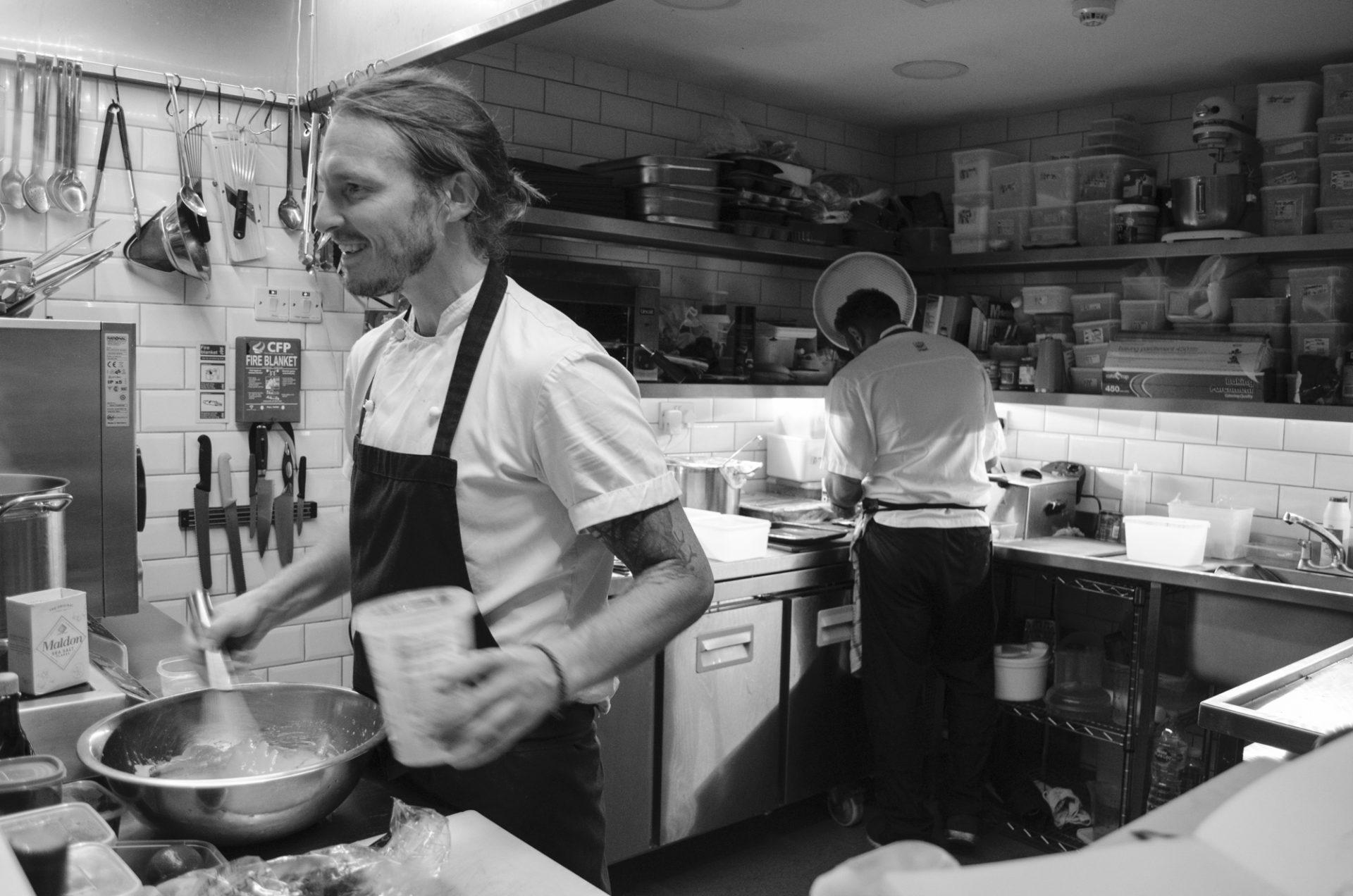 Chef Ian Swainson of Amarillo in the kitchen in Brighton