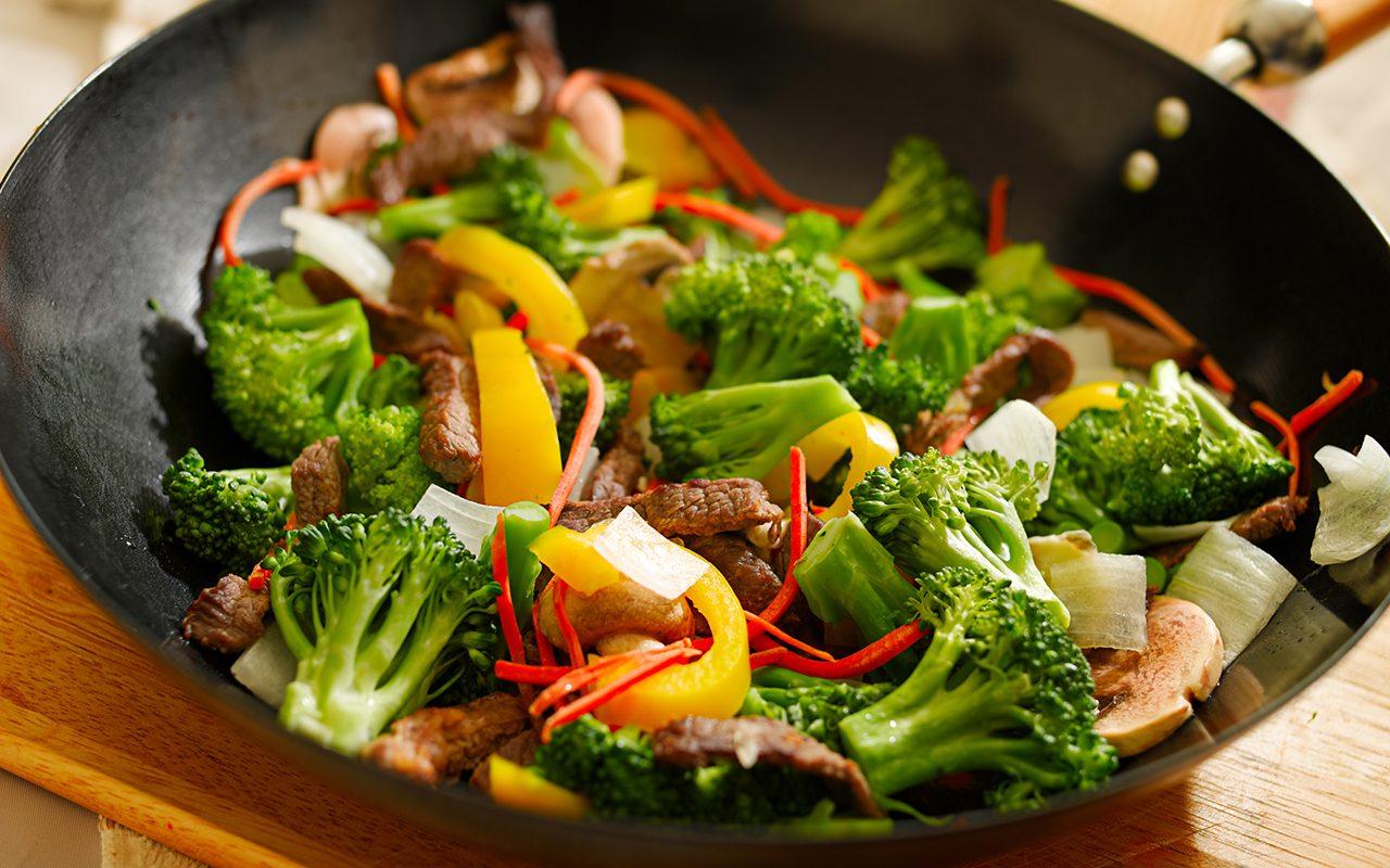 broccoli, mushrooms, paprika, onions in wok