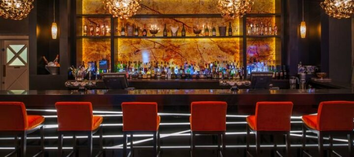 red bar chairs, bar and drinks