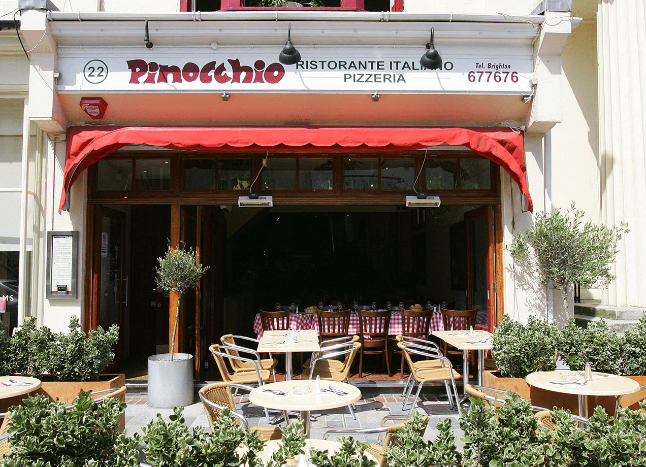 Brighton Theatre, Outside of Pinocchio, Italian Restaurant Brighton