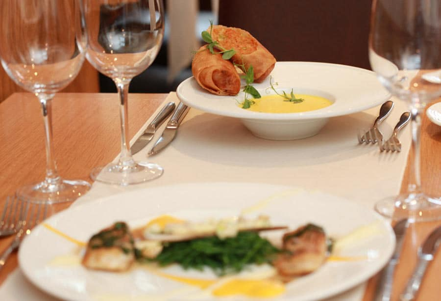 Fine dining dishes at the Sylvan Oak Findon