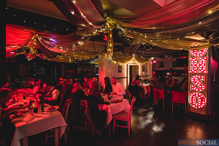Brighton Christmas Parties, festive decor at seafront venue OhSo Social