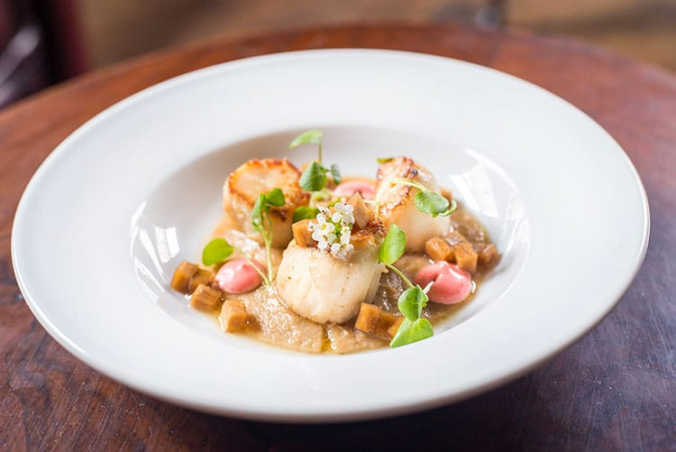 gluten free restaurants Brighton, pretty plate of scallops and edible flowers at Grow 40