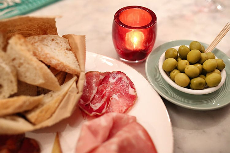 Antipasti and meats at Ten Green Bottles, gluten free restaurants Brighton