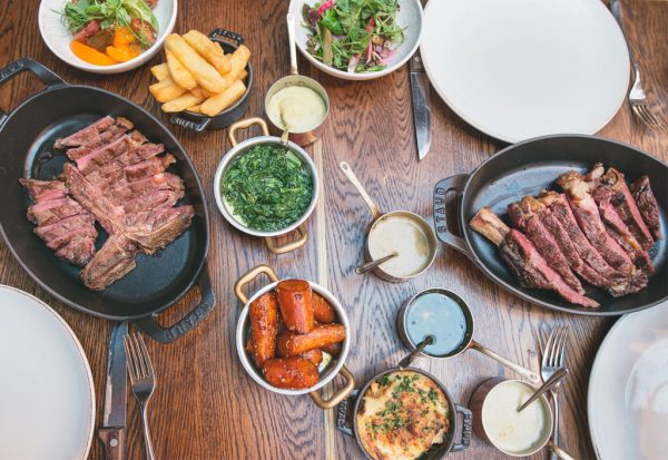 Sharing steak dishes at The Coal Shed