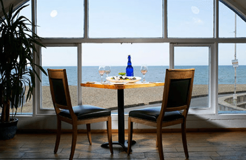 Seafood restaurant, champagne and oyster bar, Riddle and Finns, Brighton beach, Kings Road Arches, fish restaurant, Brighton. Paul Fletcher Photography