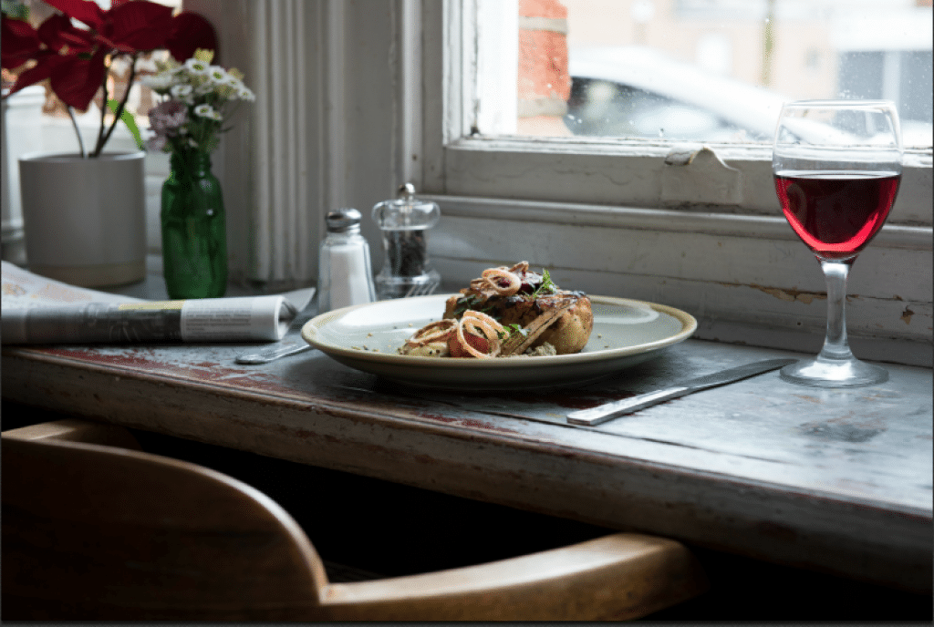 Lunch by the window at The Chimney House Restaurants Brighton