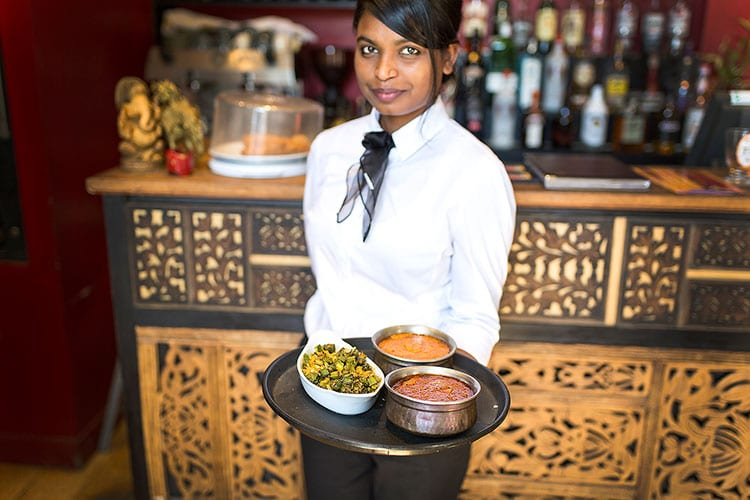 Serving Indian dips and sides at Chaula's Lewes