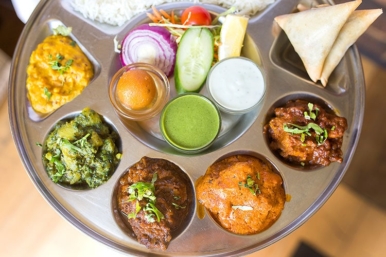 Chaula's Brighton - Colourful thali dish at Indian restaurant Chaula's
