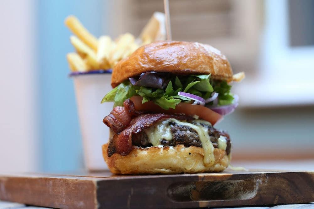 21 day-aged beef at Moksha Caffe on York Place. Best Burger Brighton - Burgers Brighton