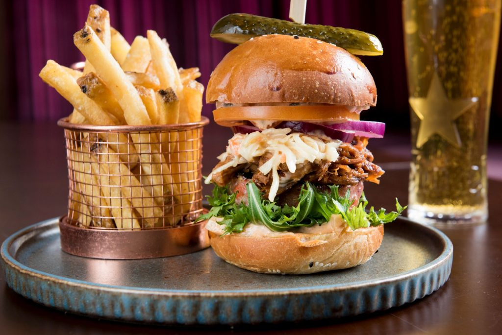 Burger and chips The Cricketers Restaurants Brighton