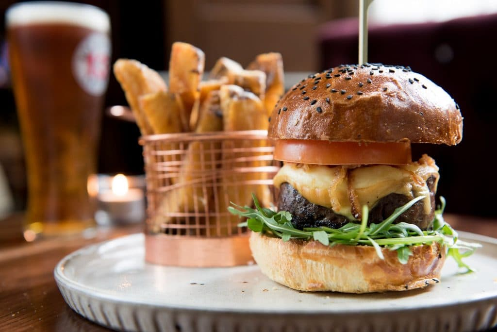 Burger and chips at Hove Place Restaurants Brighton