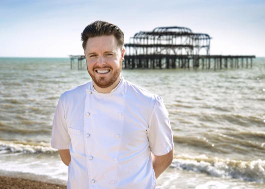 Chef Steven Edwards in front of the West Pier