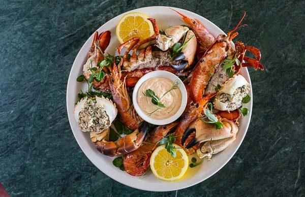 Seafood platter (above) at Browns Restaurant Brighton