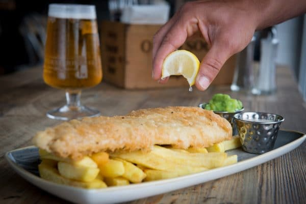 Fish and Chips at OhSo Social in Brighton