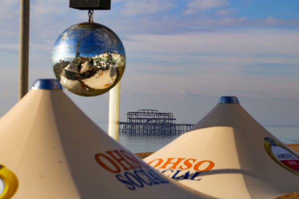 Restaurants with Entertainment , disco ballls at seafront venue Oh So Social