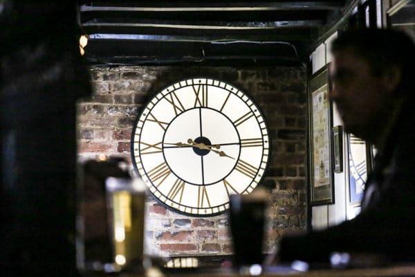 Clock in bar
