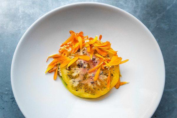 yellow tomato dish at silo in brighton