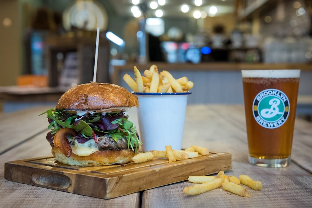 Burger at Moksha Cafe