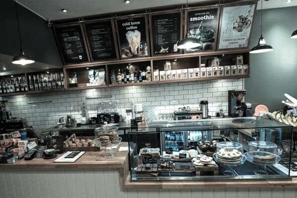 The counter at Moksha Caffe in Brighton