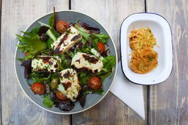 Halloumi salad at Moksha Caffe in Brighton