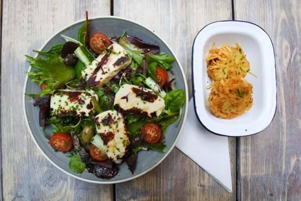 Halloumi salad at Moksha Caffe in Brighton