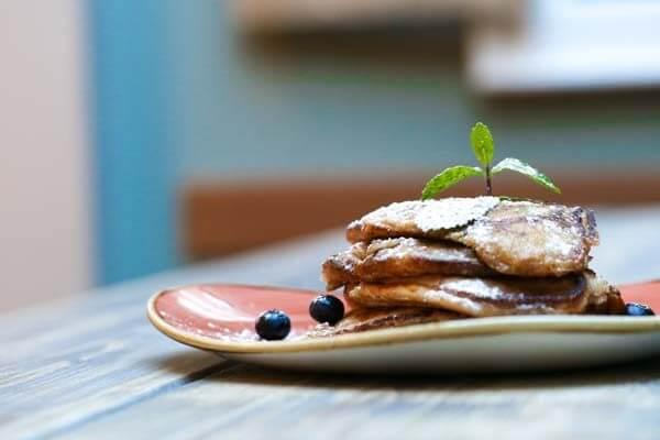 Pancakes and blueberries at Moksha Caffe in Brighton