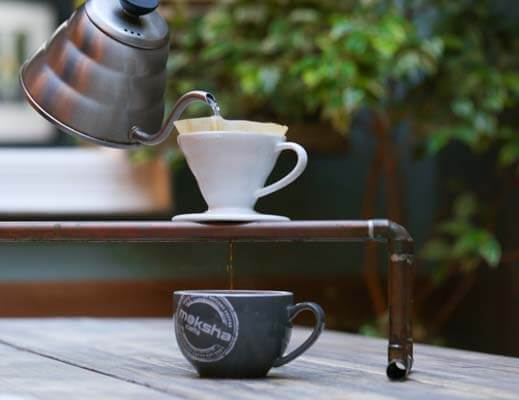 Brewing the coffee at Moksha Caffe
