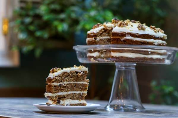 Slice of carrot cake and carrot cake