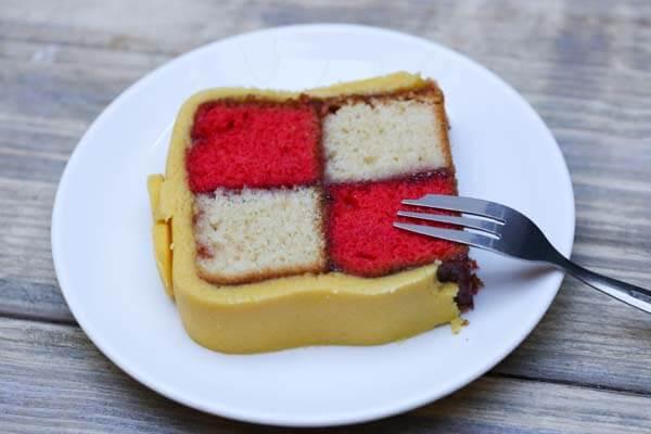 Battenburg cake at Moksha Caffe in Brighton