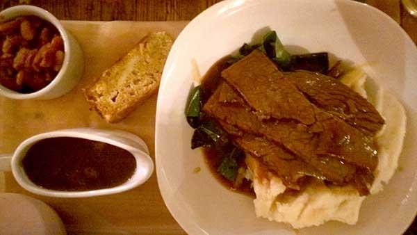 Brisket with smoked garlic mash, cornbread and gravy, Druids Arms, Brighton