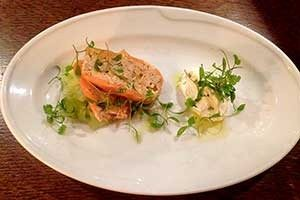Shepherd and Dog, Fulking: Smoked Salmon Roulade with lemon cream cheese, pickled cucumber, pea shoots and baby coriander