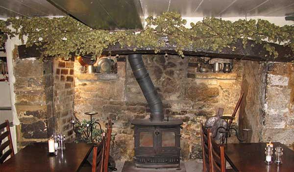 Shepherd and Dog, Fulking, food pub, interior, fireplace, wood burner