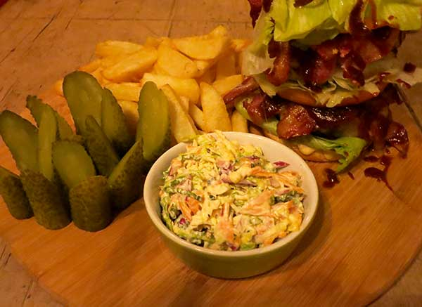 Coleslaw, gherkins and chips, at The Lord Nelson Inn, Brighton