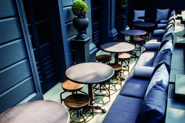 Outside terrace at No 32, bar, restaurant, and club, Brighton