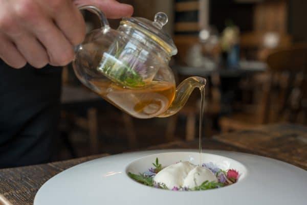 Tea pot pouring at Grow 40 in Brighton