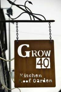 Sign outside Grow40, kitchen roof garden , North Laine, Brighton