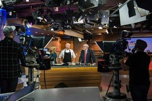 Matty Bowling and Andrew Kay on TV in Canada as part of the International Chef Exchange