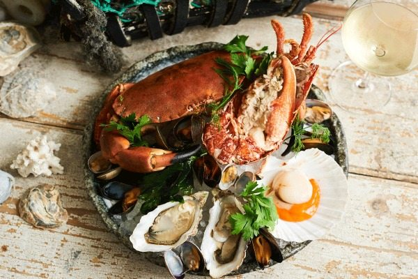Seafood platter at the Jetty restaurant, Brighton