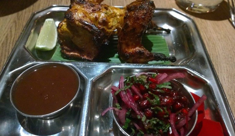 Tandoori Quail with Pomegranate Salad and a Date Chutney