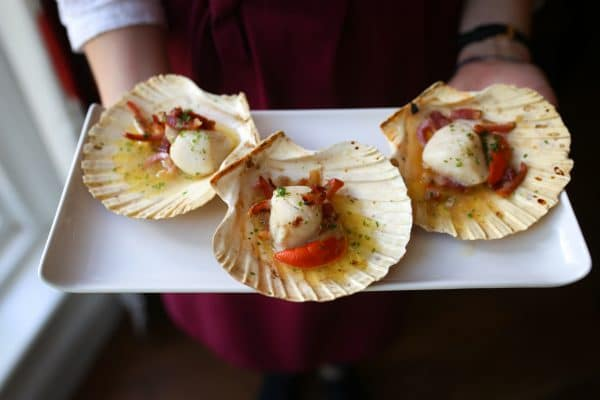 Scallops being served at Limes of Lindfield