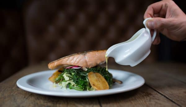 Pubs with fires, Salmon and pouring sauce