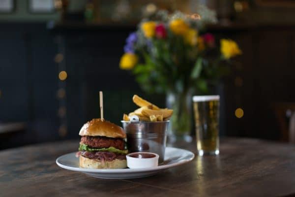 Vegetarian burger, food pubs Brighton