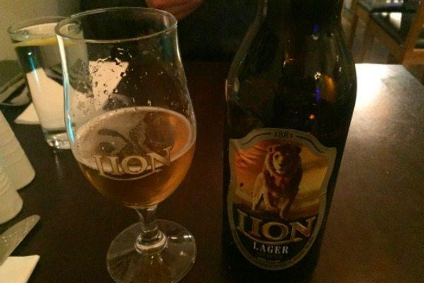 Lion beer at Moonstone Sri Lankan restaurant, Hove