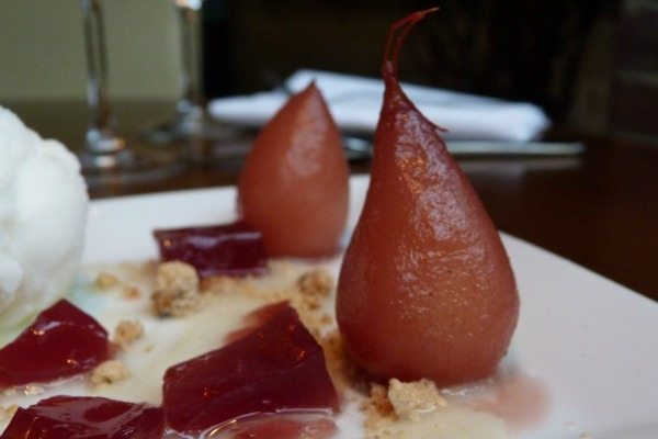 Poached pears at Indian Summer, Brighton