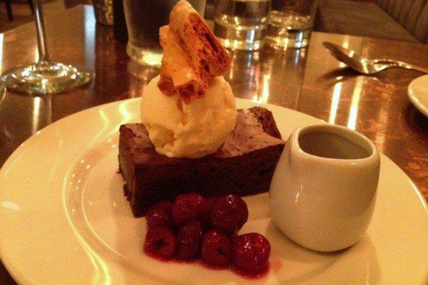 chocolate brownie at Skyfall Hove