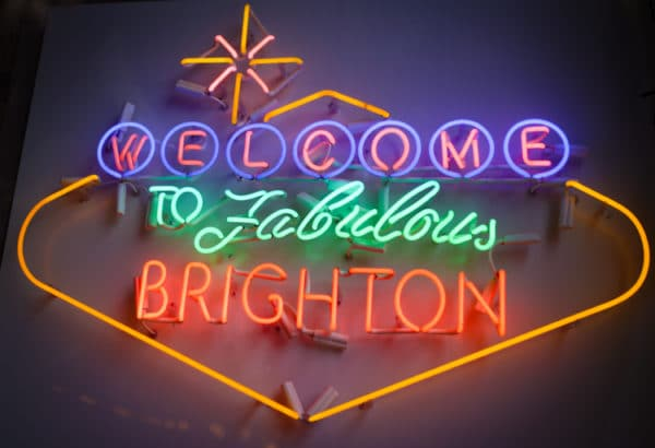 Welcome to Brighton - Neon sign at Cafe Plenty