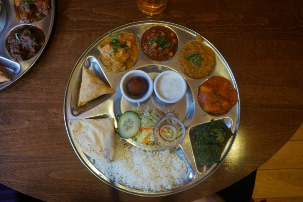 Veg Thali from above, Chaula's